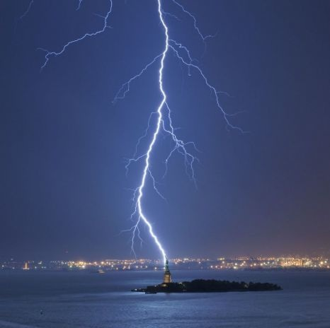 Statue of Liberty Being Hit By Lightning