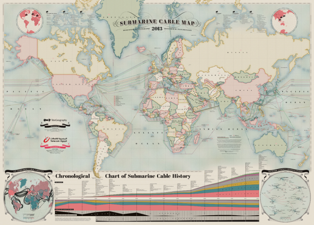 2013 Submarine Cable Map Depicts Communications Cables That Traverse ...