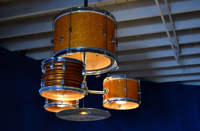 A complete drum kit is custom made into a functional chandelier aloadofball Choice Image