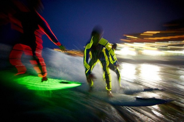 Glow in the dark night surfing
