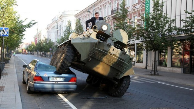 Lithuanian Mayor Drives Armored Vehicle Over Illegally Parked Car