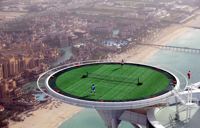 burj al arab hotel tennis court