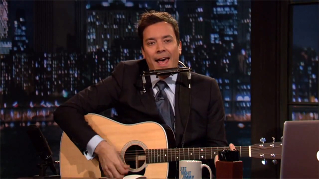 "Jimmy Fallon Sings ""Trick or Treat, Smell My Feet"" as Bob Dylan"
