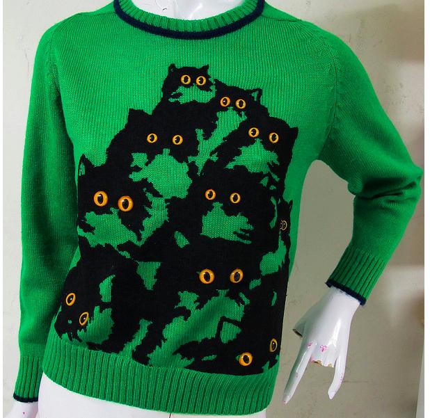 Bright,Eyed Cuckoo Kitty Sweaters