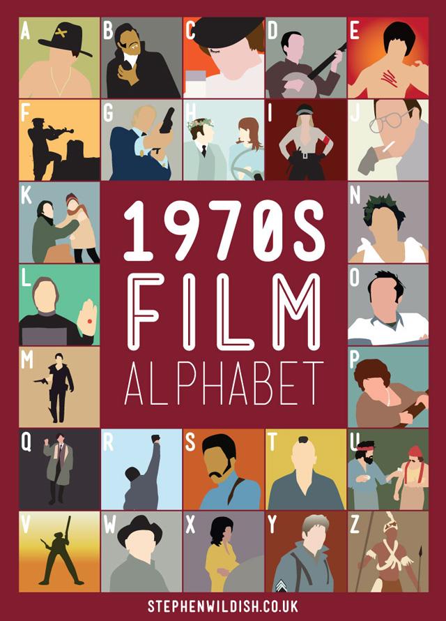 1970 39 s film alphabet poster that quizzes your 1970s movie knowledge. Black Bedroom Furniture Sets. Home Design Ideas