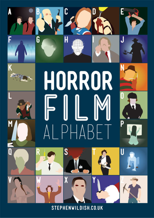 horror film alphabet poster that quizzes your horror movie knowledge. Black Bedroom Furniture Sets. Home Design Ideas