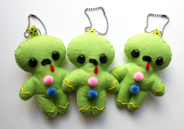 Zombreads, Handmade Plush Zombie Gingerbread Men Combination Christmas Ornaments and Keychains