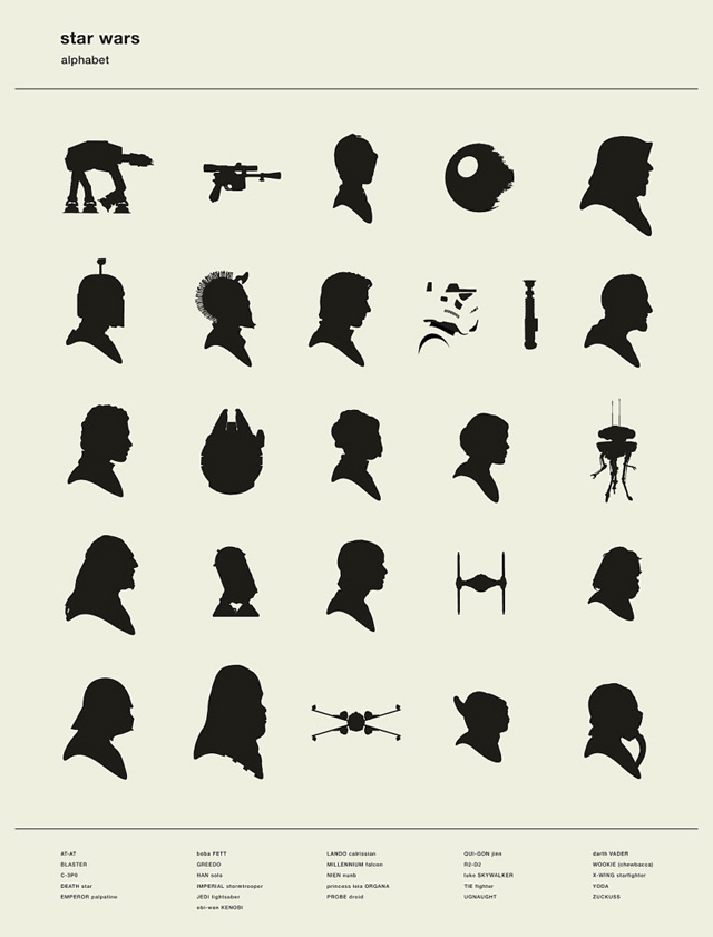 Art Print That Alphabetically Displays Star Wars Character Silhouettes