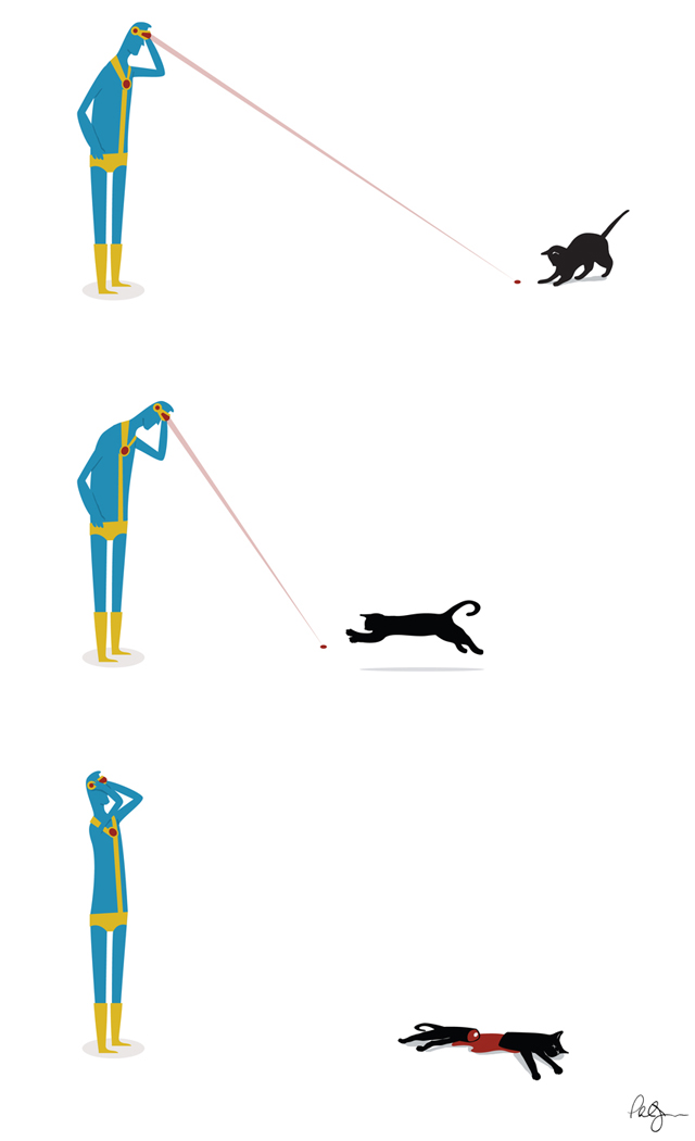 Cyclops' Cat, Illustration of the Superhero Cyclops Using His Optic Beam as a Cat Toy
