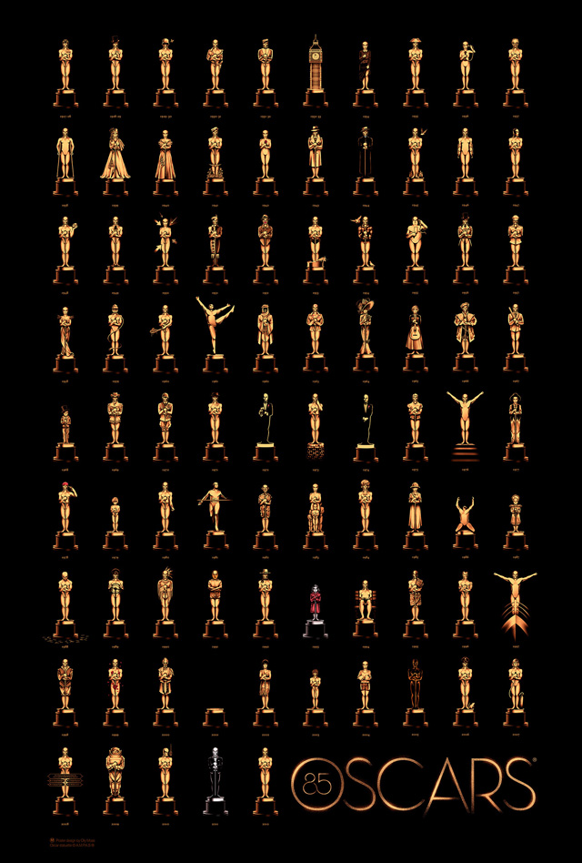 85th Academy Awards Poster by Olly Moss Featuring Oscar Statues That Represent Each Winner