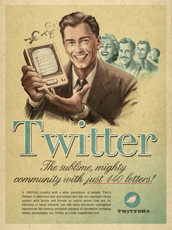 Retro Future Advertisement For Twitter