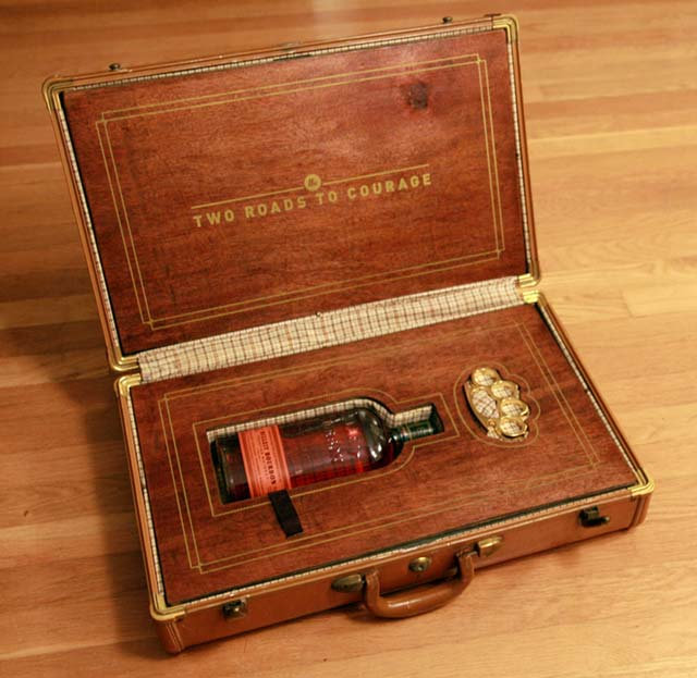 Custom Suitcase Holds Bourbon Whiskey, Brass Knuckles