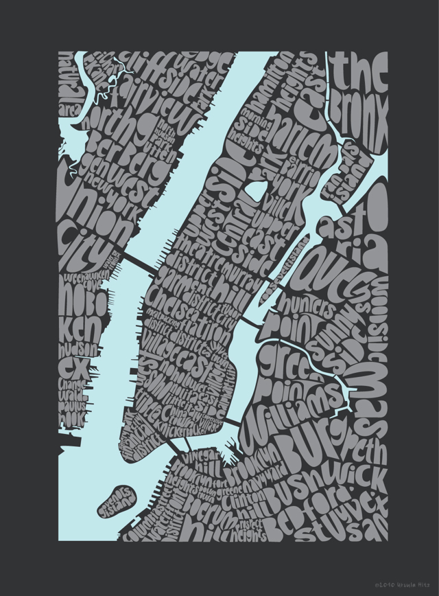 Typographic Map of New York City
