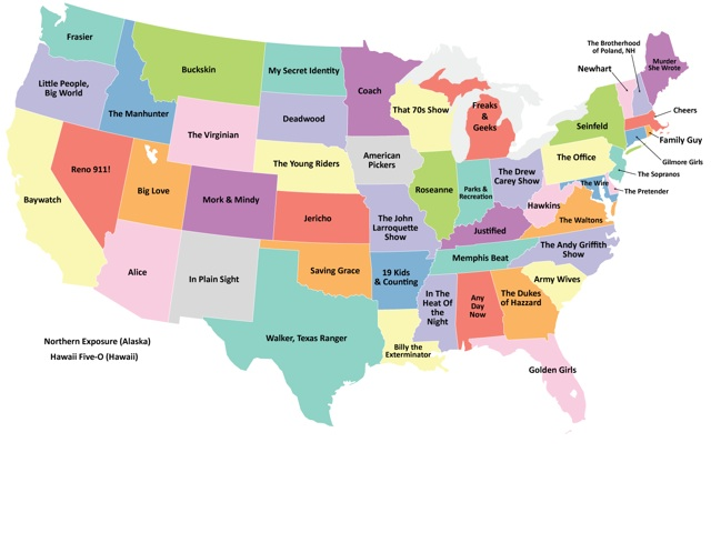 US Map Showing The TV Series Best Representing Each State