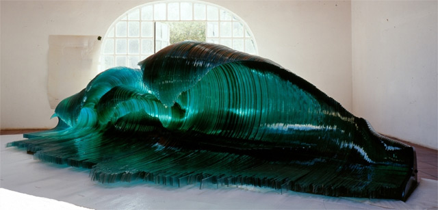Glass and Wood Wave Sculptures by Mario Ceroli