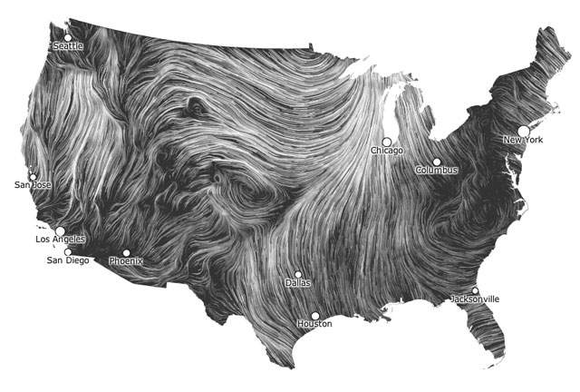 Wind Map Beautiful Visualization Of Wind Flowing Around The US - Pretty us map