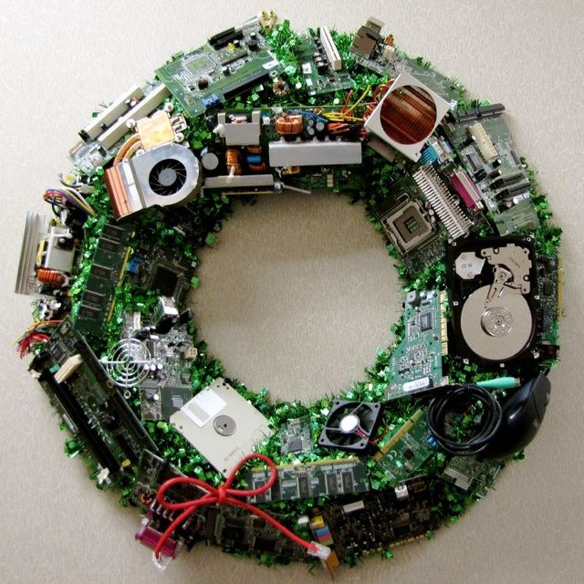 Computer Component Christmas Wreath