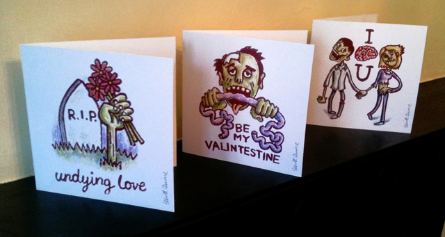 Linocut Zombie Valentine Cards – Zombie Valentines Cards